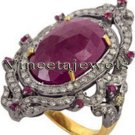 2.00Ct. Rose Cut Diamond Sterling Silver Handicraft Victorian Reproduction Ring