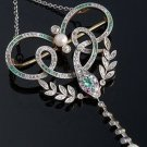 Snake Victorian Style 2.65Ctw Rose Cut Diamond Sterling Silver Oxidised Pendant