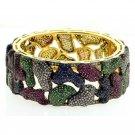 Modern 3.85Ctw Rose/Antique Cut Diamond Silver Cuff Colorful Bracelet