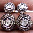 Victorian/Vintage Repro Sterling Silver 1.05Ct. Rose/Anti. Cut Diamond Earrings