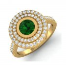 1.32Ctw Natural Diamond 14K Yellow Gold Emerald Cocktail Ring