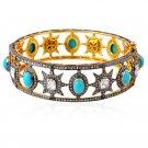 Latest Victorian Inspired 4.49Ctw Rose Cut Diamond Silver Cuff Bracelet
