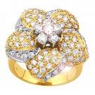 Flower Shape 1.76Ctw Diamond 14K Yellow  Gold Wedding Ring
