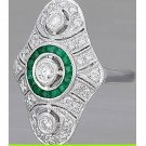 Cz Green White 925 Sterling Silver High Quality Round Engagement Party Ring