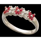 Cz Red White 925 Sterling Silver High Quality Round Engagement Party Ring
