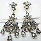 Polki Diamond Handmade-Rose Cut Diamond 92.5% Silver Chandeliers Earrings ZZ719