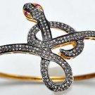 Snake Vintage Inspired 4.15Ctw Rose Cut Diamond Silver Cuff Ruby Bracelet ZB818