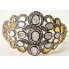 Wedding Handmade Polki Rose Cut Diamond 925 Silver Cuff Antique Bracelet Fk54061