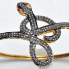 Snake Vintage Inspired 4.15Ctw Rose Cut Diamond Silver Cuff Ruby Bracelet