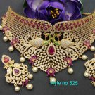 Multicolor Green Red Pearl Cz necklace Choker Set s10 wG41522