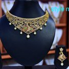 Multicolor Green Red Pearl Cz necklace Choker Set s4 JL88183