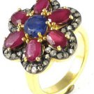 1.30Ctw Rose Cut Diamond Ruby Sapphire Silver High Quality Victorian Style Ring