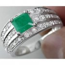 Cz Green White 925 Sterling Silver High Quality Round Engagement Party Ring Mu8