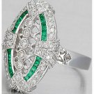 Excellent Cz Green White 925 Silver High Quality Round Engagement Party Ring Ih5