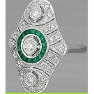 Cz Green White 925 Sterling Silver High Quality Round Engagement Party Ring VU8