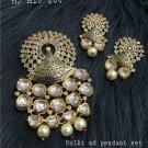 Bollywood Indian Fashion Kundan Gold Plated Ethnic Wedding Pendant Set Vm236