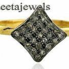 Vintage Reproduction Rose Cut Diamond Sterling Silver 18K gold Plated Ring pg287