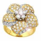 Flower Shape 1.76Ctw Diamond 14K Yellow  Gold Wedding Ring Jv425