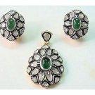 2.48Ct Rose Cut Diamond Silver Victorian Inspired Emerald Pendant Set xL099
