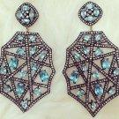 Precious Victorian Style 4.80Ctw Rose Cut Diamond Silver Topaz Earrings NC321