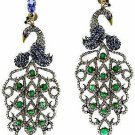 Peacock Victorian Style 4.80Ctw Rose Cut Diamond Sterling Silver Earrings JC632