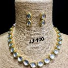 Handmade Kundan Bollywood Style Partywear Designer Necklace Set wM076