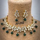 Kundan Handmade Partywear Gold Plated Red Stone Necklace Set pq953