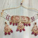 Jadau Handmade Indian Bollywood Ethnic Fashion Choker Necklace Set ff492