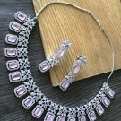 Cz High Quality Indian Bollywood Ethnic Fashion Partywear Necklace Set Tw878