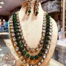 Indian Bollywood Gold Plated Kundan Green Necklace & Earrings Jewelry Set R824