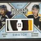 14-15 ITG Leaf Heroes & Prospects Dual Swatch PATCH  Jeremy Roy  Ray Bourque /10
