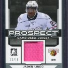 2014 ITG Leaf Hockey Draft Prospects Game Used Jersey Jaden Lindo PGU-13 13/15