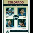 2001-02 UD Hockey Vintage  Team Checklist  #70  Colorado Avalanche