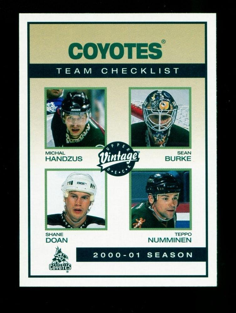 2001-02 UD Hockey Vintage  Team Checklist  #199  Phoenix Coyotes
