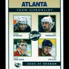 2001-02 UD Hockey Vintage  Team Checklist  #17  Atlanta Thrashers