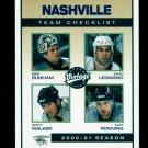 2001-02 UD Hockey Vintage  Team Checklist  #148  Nashville Predators