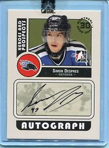 2008-09 ITG Heroes & Prospects Autograph Draft Day Pick  Simon Despres  #A-SD