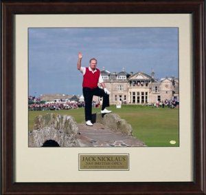 JACK NICKLAUS AT THE 2005 BRITISH OPEN CUSTOM FRAMED PHOTOGRAPH