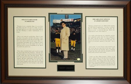 """VINCE LOMBARDI """"WHAT IT TAKES TO BE NO. 1"""" CUSTOM FRAMED SPEECH"""