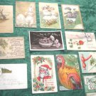 A-4   Mixed Lot 12 Antique Holiday/Greeting Postcards- Tuck Christmas Birthday