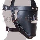 LEATHER Blindfold Restraint Bondage Head Mask WITH LOCKING BUCKLE