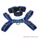 Men's Genuine Leather Body Chest Harness With Blue Inning & Restraints Set