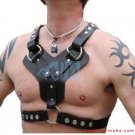 Cowhide Black Leather Body Chest Harness