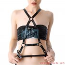 Women's Genuine Black Leather Bondage Body Chest Harness