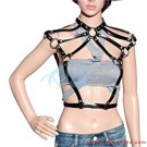 Ladies Leather Belt Around Neck Harness Corss Body Punk Strap With Adjustable Buckies