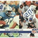 1992   Pro Set    Lions Magic Number 20    # 349   Barry Sanders / Billy Sims