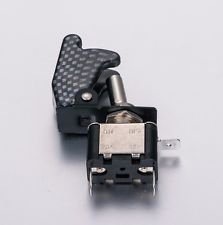 APS BLUE LED LIT TOGGLE SWITCH CARBON FIBER SAFETY COVER AUTO CAR TRUCK ASW-07D