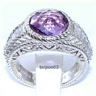 Judith Ripka 3.85ct Amethyst  Diamonique Band Sterling Silver Ring  Size 6 QVC $354