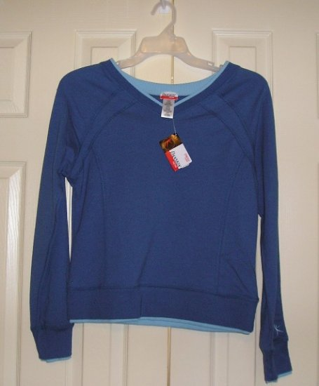 NEW Womens Teens Danskin Blue LS Shirt Top L@@K!
