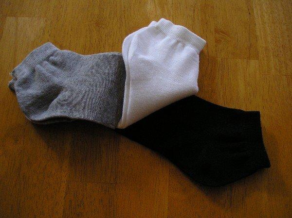NEW Womens Sports Socks 3 Pair Lot Black White Gray No Show No Brand